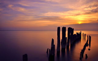 Картинка Lake michigan sunrise, Evanston, озеро мичиган, us