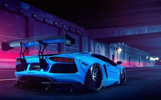 Обои liberty walk, Lamborghini, blue