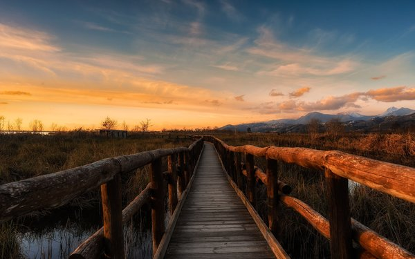 Обои path, sunset, mountain, cloud