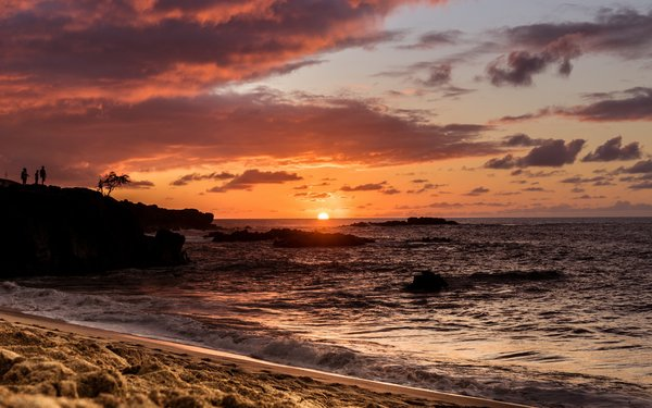 Обои Waimea Bay, Sunset, Oahu, Hawaii