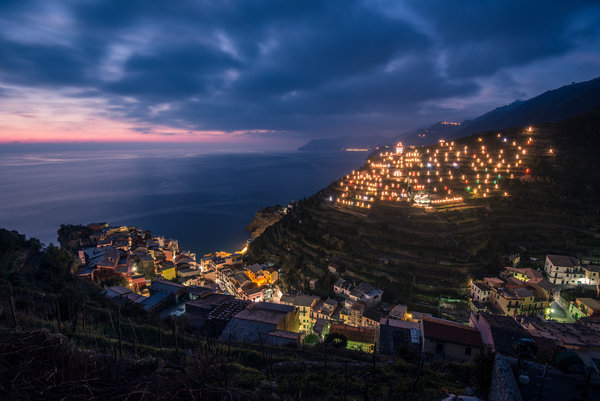 Обои Lights, Manarola, Italy