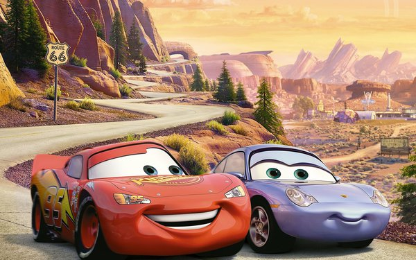 Обои Cars 2, U.S. Route 66, racing, animated film, Ра, Тачки 2, Sally Carrera, Pixar, Walt Disney, Lightning, мультфильм, Уолт Дисней, Owen Wilson, Radiator Springs, McQueen, Piston Cup championship, sport