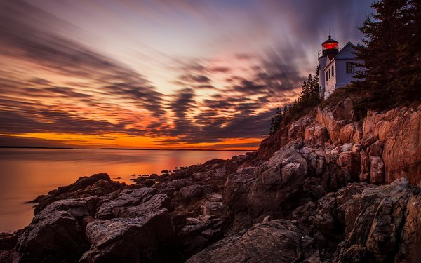 Обои bass harbor headlight, маяк, закат