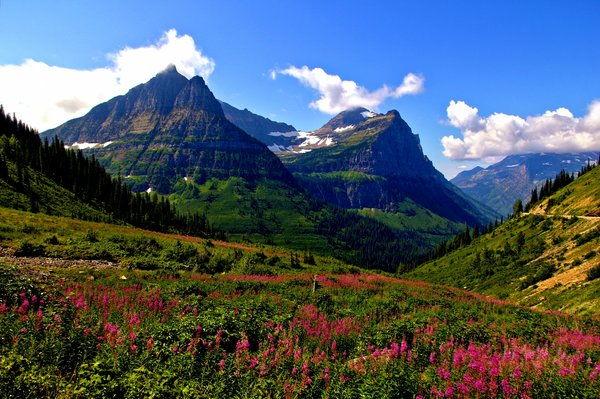 Обои пейзаж, glacier national park, горы, холмы