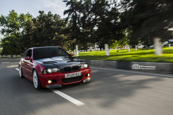 Обои bmw, motion, e46, car, red, road