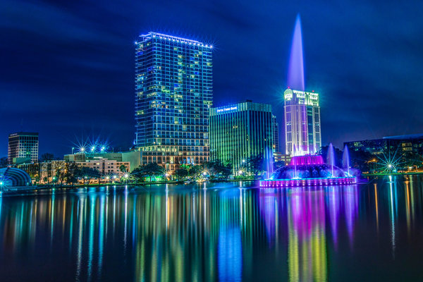 Обои florida, downtown orlando, lake eola park