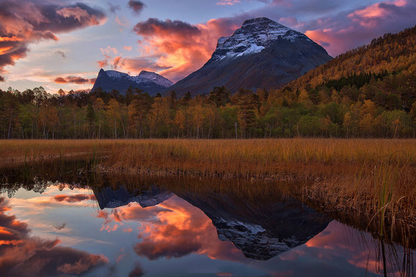Обои norway, more og romsdal, sunrise, reflection
