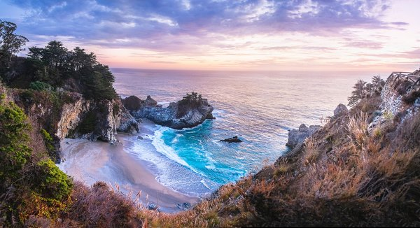 Обои McWay Falls, Julia Pfeiffer Burns State Park, California, закат, море, берег, водопад, McWay Cove Beach, Биг-Сюр, Big Sur, Калифорния, Парк Джулии Пфайфер Берн