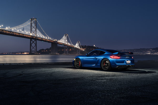 Обои Porsche, Rear, Blue, Sport, Night, GT4, Car, Bridge, Cayman, Dark