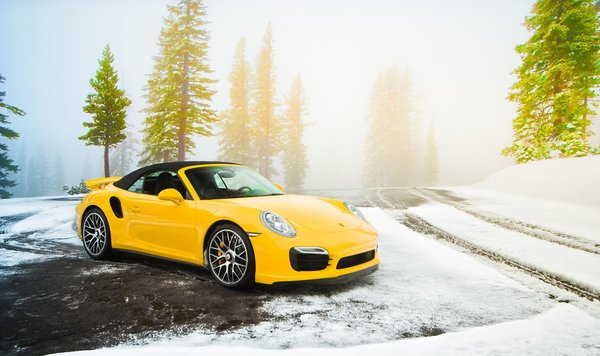 Обои Суперкар, 991, Желтый, Snow, Cabriolet, Spruce, Supercar, Yellow, Порше, Turbo S, 2014, Porsche, Снег, Дорога, Road, Ель