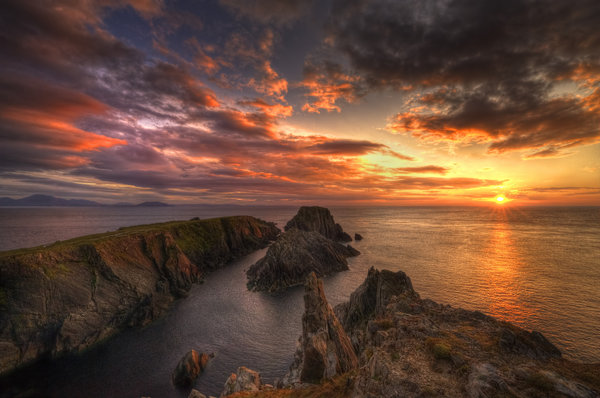 Обои Ireland, Ирландия, sea, горизонт, Донегал, закат, Donegal, море, sunset, horizon, Malin Head