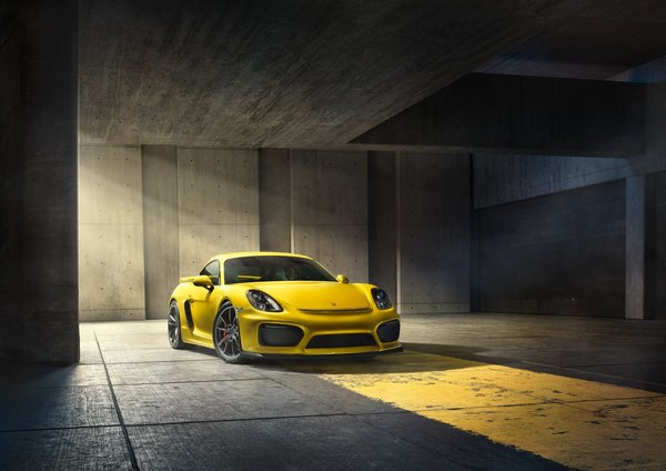 Обои 2015, Cayman, Porsche, GT4, Front, Parking, Supercar, Yellow