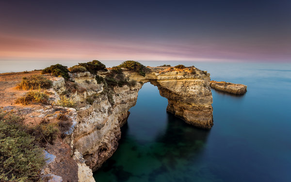 Обои sunset, portugal, rock, algarve, albandeira, atlantic ocean