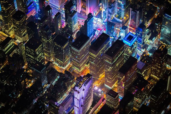 Обои Manhattan, United States, USA, lights, New York, NYC, United States of America, evening, buildings, America, New York City, night, offices, above