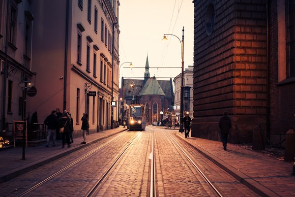Обои cathedral, Kraków, people, street, Poland, tram, church
