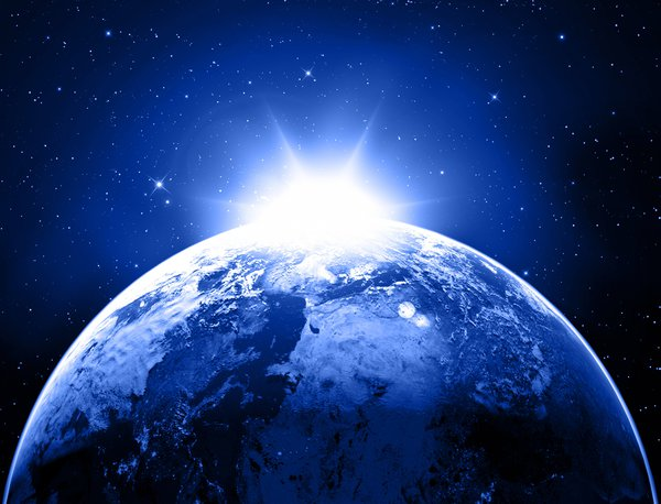 Обои light, blue, sunrise, Sci Fi, Star, planet