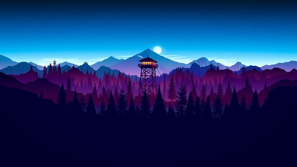 Обои Firewatch, kumo, forest, sunset artwork, sky, game, night, cloud, moon