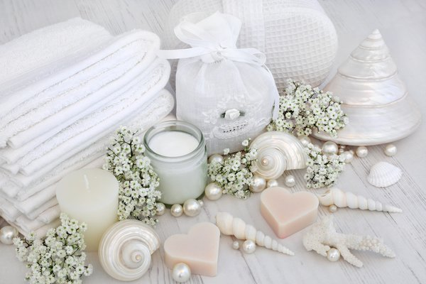 Обои цветы, salt, candle, seashells, мыло, ракушки, flowers, spa, bath, still life