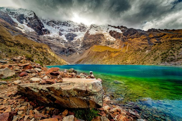 Обои Stones, Mountains, Clouds, Snow, Lake
