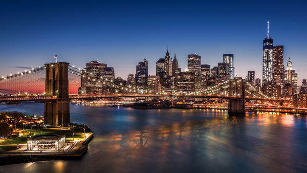 Обои Brooklyn Bridge, USA, Manhattan, city, skyscrapers, night, New York, lights, harbour