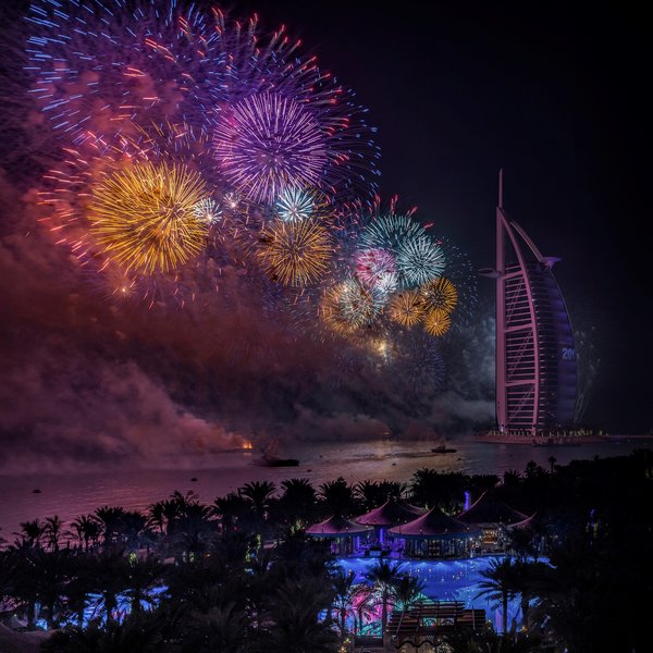 Обои night, Dubai, UAE, New Year, fireworks
