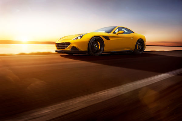 Обои Ferrari, Front, Novitec, Rosso, Speed, Supercar, California T, 2015, Yellow, Sun