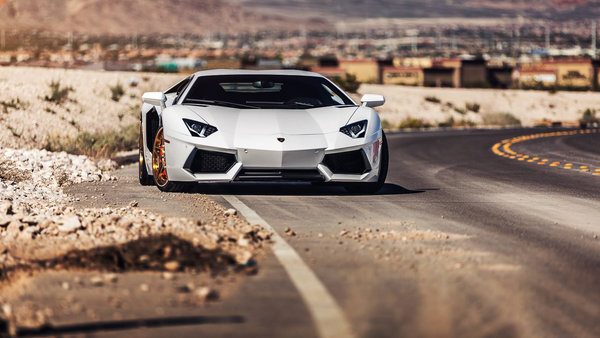 Обои Lamborghini, Desert, Supercar, Aventador, Wheels, Road, LP700-4, B-Forged, White, Front