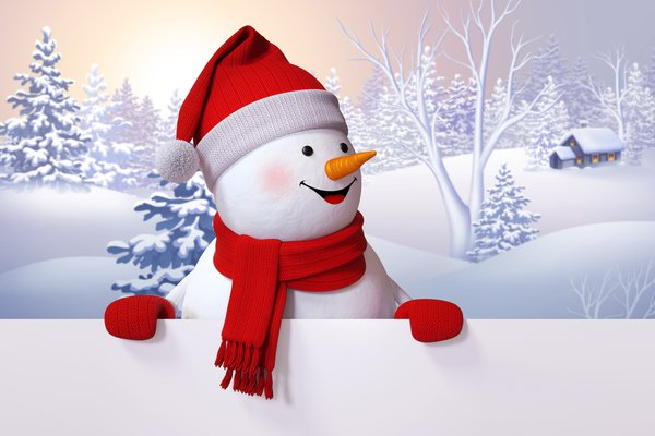 Обои snowman, winter, снеговик, happy, snow, cute