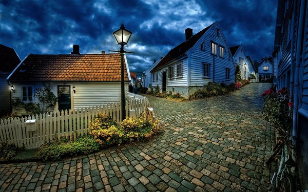 Обои town, stavanger, town, blue hour, village, norway, cobblestone