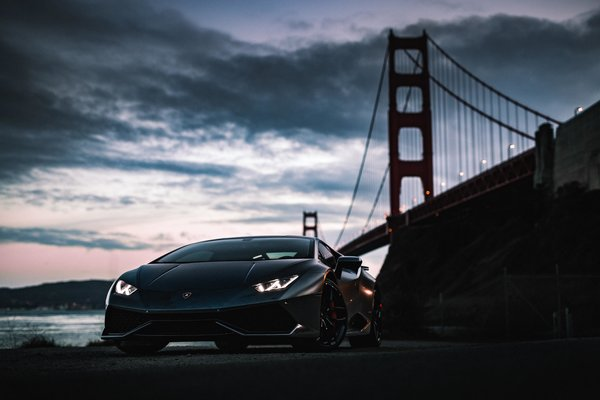 Обои Lamborghini, Golden Gate Bridge, Huracan