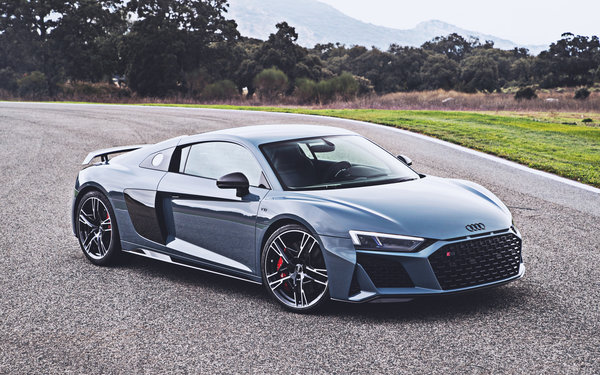 Обои Audi, supercars, V10, 2019, cars, R8, HDR, gray