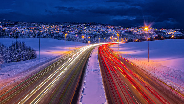 Обои дорога, winter, lights, roads, trondheim, зима, norway, выдержка, норвегия